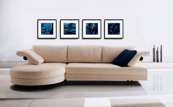 Blue Rhythm Dance ... 4 Original Contemporary abstract paintings on Canvas by Kathy Morton Stanion EBSQ