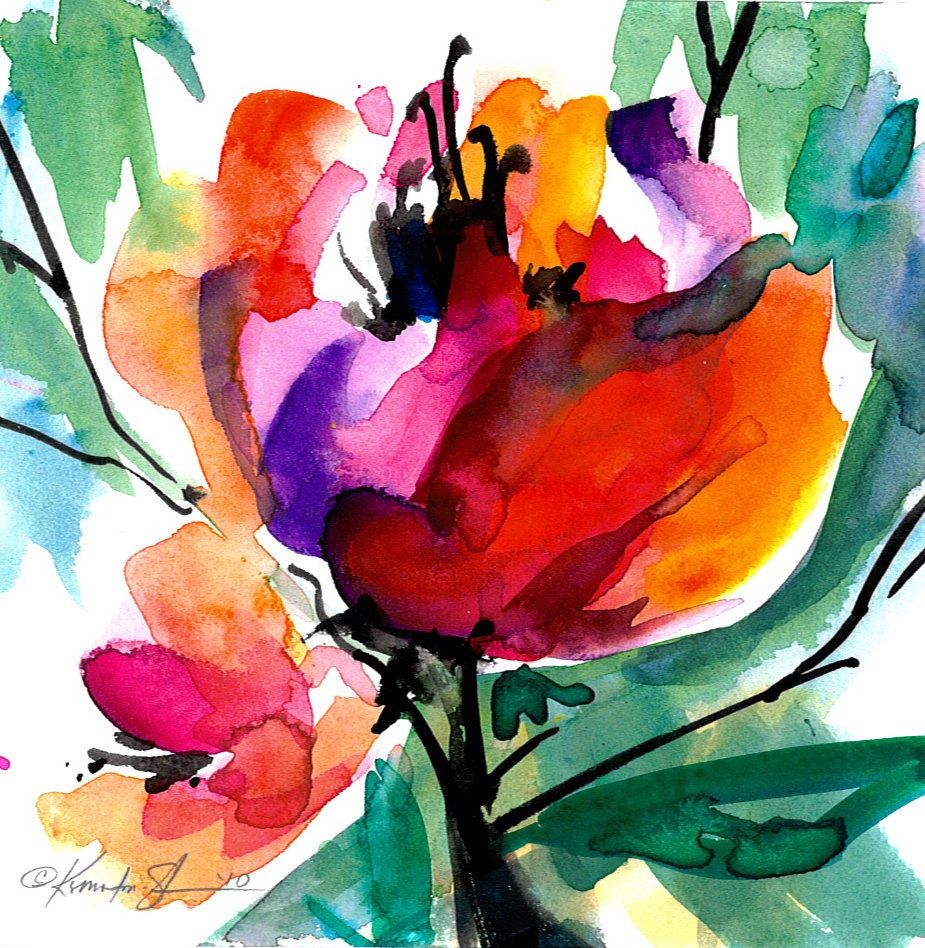 Floral 8 Original Contemporary Abstract Flower Watercolor