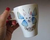 Cat Butterfly Mug - White Kitty Blue Wings