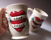 His and Hers Heart Tattoo Couples Mugs  - RESERVED for Carvmywy