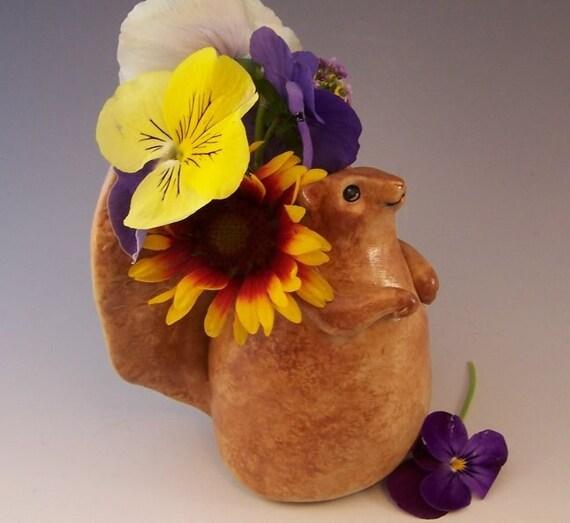 Squirrel Vase - Handbuilt Ceramic