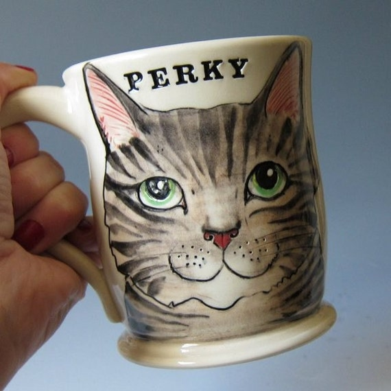 Perky Cat Mug - Hand thrown Ceramic Mug