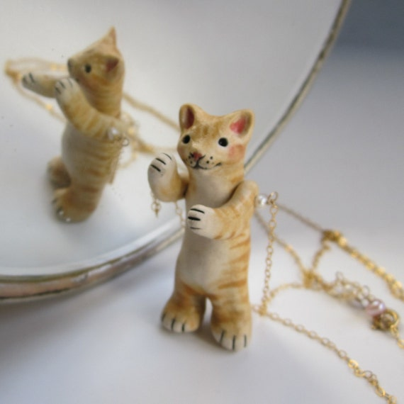 Articulated Orange Tabby Cat porcelain sculpture / necklace