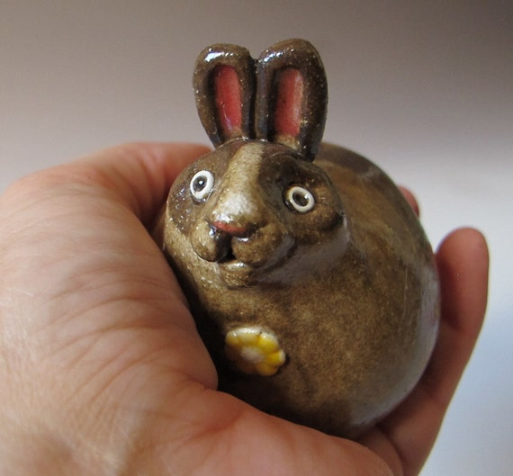 Brown Bunny Sculpture / Vase - Hand sculpted stoneware