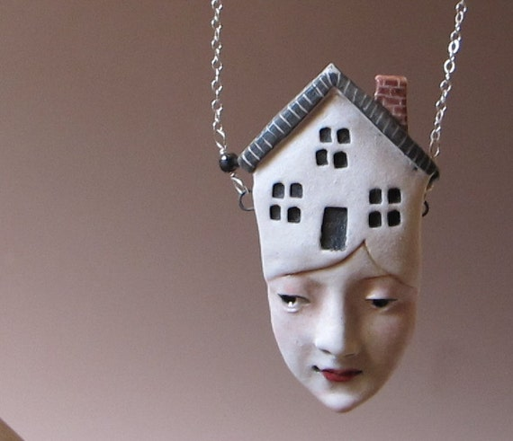 Thoughts of Home - Porcelain Pendant on Sterling Silver