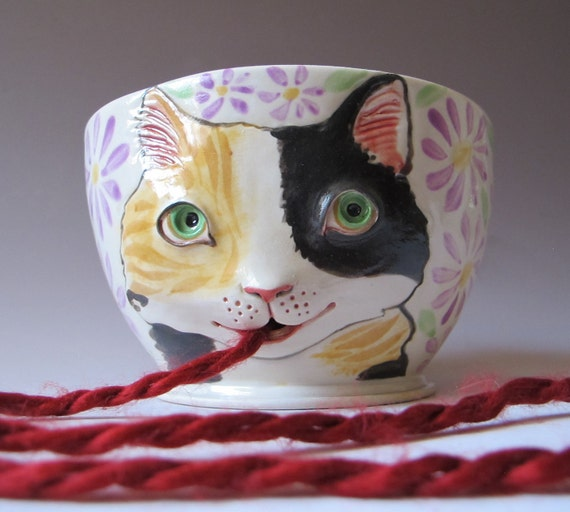 Calico Cat Yarn Bowl - White stoneware with sculpted kitty against flowers