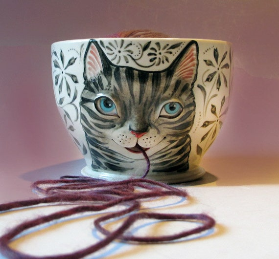 Tabby Cat Yarn Bowl - White stoneware with sculpted kitty against black flowers