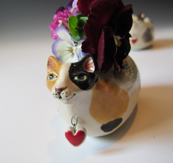 Angel Cat Vase - Calico Cat with Wings - Handsculpted stoneware