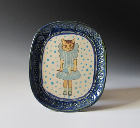 Victorian Style Kitty Girl Ceramic Plate / Dish with Blue Polka Dots