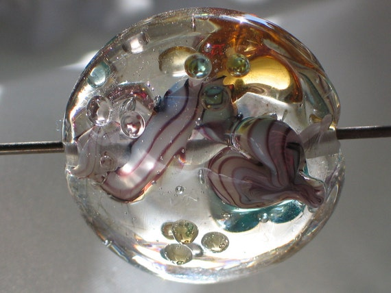 Handmade Glass Lampwork Beads, Clear/Pink/Aqua/Amber Large Straight Sided Lentil