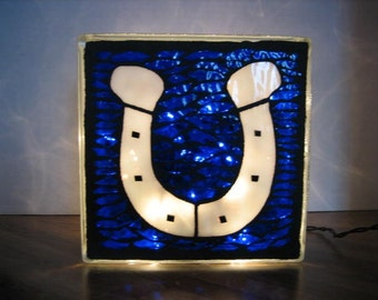 White Horseshoe Mosaic Lighted Glass Block, Football, Equestrian Gift