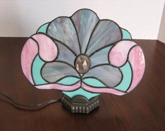 Victorian Inspired Stained Glass Fan Lamp