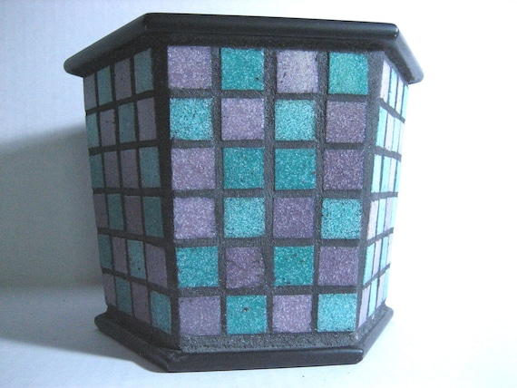 Mosaic Planter purple and teal tile mosaic decorative planter container garden upcycled mosaic planter