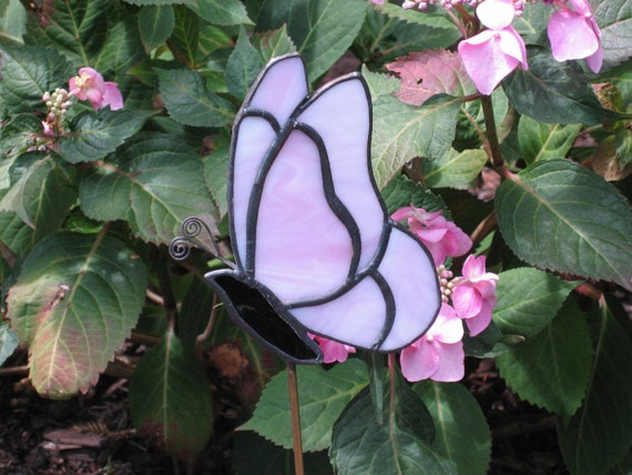 Pink Butterfly Stained Glass Garden Stake Plant Stake Garden Decoration Tiffany Butterfly
