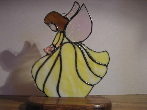 Soft Yellow Guardian Angel  Confirmation Gift Communion Gift Angel and Dove Stained Glass Angel