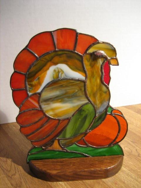 Stained Glass Turkey Thanksgiving Decoration Turkey Suncatcher
