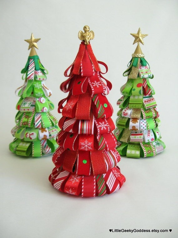 Christmas candy cane ribbon tree one tree only - Christmas tree with ribbons ...