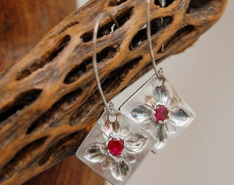 Red Ruby CZ's and Fine Silver Dangle Earrings Artisan Made