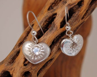 Silver Heart Earrings with White Topaz Faceted Stones Artisan Made Metal Clay