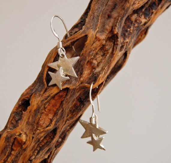 Silver Star Dangle Earrings Fine Silver Metal Clay Artisan Made