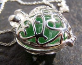 SPRING - Sea Glass SILVER Filigree heart LOCKET in Shades of Green