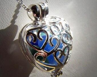 COLD As ICE - Sea Glass Silver Filigree heart LOCKET in Rare Blues