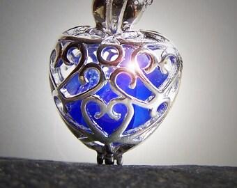 COBALT LOVE - Sea Glass Silver Filigree heart LOCKET in Rare Cobalt Blues