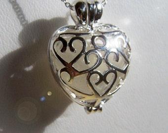 PURE LOVE - Sea Glass Silver Filigree heart LOCKET in Frosty Whites