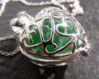 SPRING - Sea Glass SILVER Filigree heart LOCKET in Shades of Green