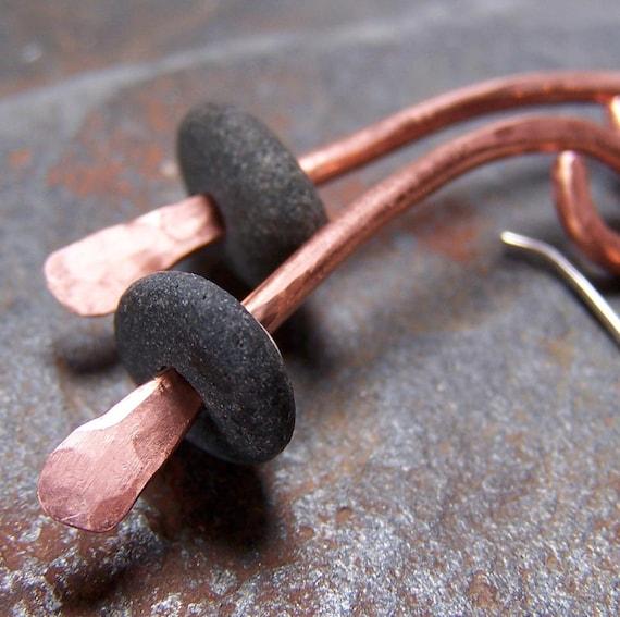 MIXED METAL - Beach Stone Earrings