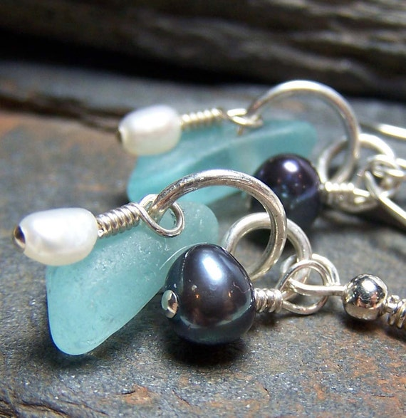 ICE - Sea Glass STERLING Silver and Pearl EARRINGS