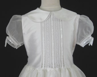 Embroidered Heirlooms Girls First Communion Dress with Sleeves, Silk - Grace