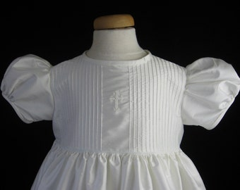 Baby Baptism Gown, Christening Gown - Silk, Pintucked