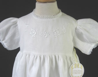 Baptism Gown, Christening Gown &  Bonnet in Irish Linen with Celtic Knot Cross