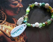 Earth Friendly CHERISH Stretch Bracelet Made of Recycled Peridot/Topaz Beads