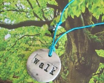 Earth Friendly WALK Porcelain Necklace with a Rose Quartz Bead on Blue Hemp