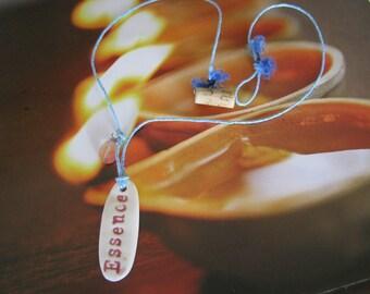 Earth Friendly ESSENCE Porcelain Necklace on Powder Blue Hemp Cord w/ a Bamboo Closure Natural Yoga Spiritual Meditation Gift