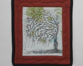 MINIATURE  QUILT WITH TREE WITH HANGING BRANCHES