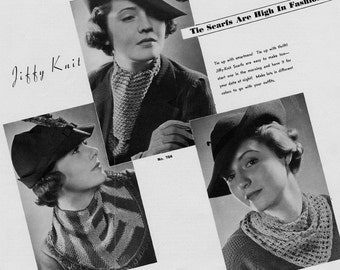 Ascot , Chin-Chucker, and Bib Scarf - THREE Vintage Tie Scarf Crochet and Knitting Patterns - 1934 - PDF eBook