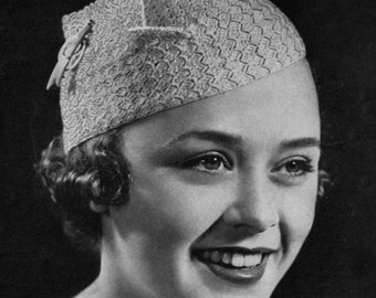 Winged Beret - Vintage 1930s Crochet Hat Pattern