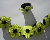 yellowish Lime Green Lily Flower Lampwork Glass Beads