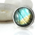 25% OFF SALE Sterling Silver Labradorite Ring Round Stone Blue Yellow Green Statement Jewelry, Size 7 Ring - Light Lead My Way