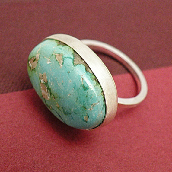 RESERVED -SOARING HIGHER  -Sterling Silver Ring with Turquoise Size 7