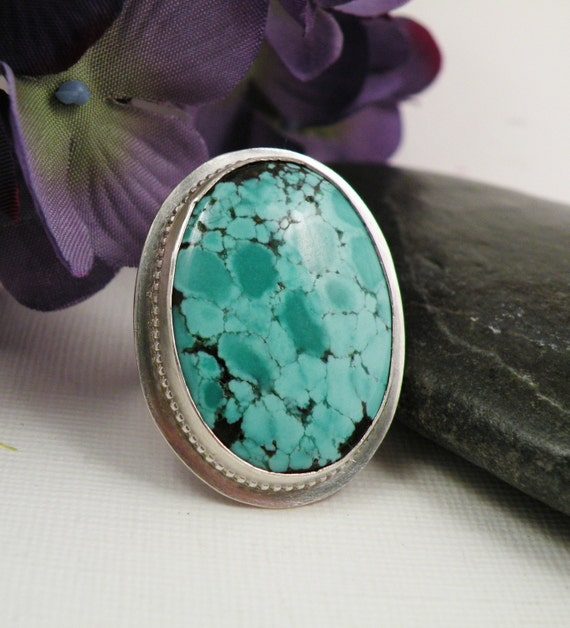 BOXING DAY SALE Turquoise Silver Ring Size 6 Tide Pool