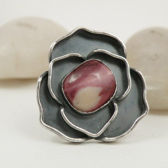 Sterling Silver Rose Ring Pink Mookaite Stone Oxidized Silver Flower Jewelry Size 8.75 Ring - Rosy Disposition