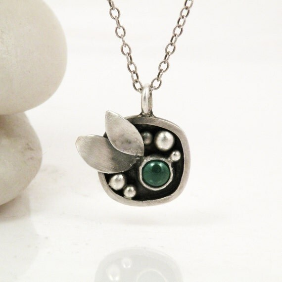 Sterling Silver Leaf Necklace Green Apatite Stone Jewelry - Rainy Day Love