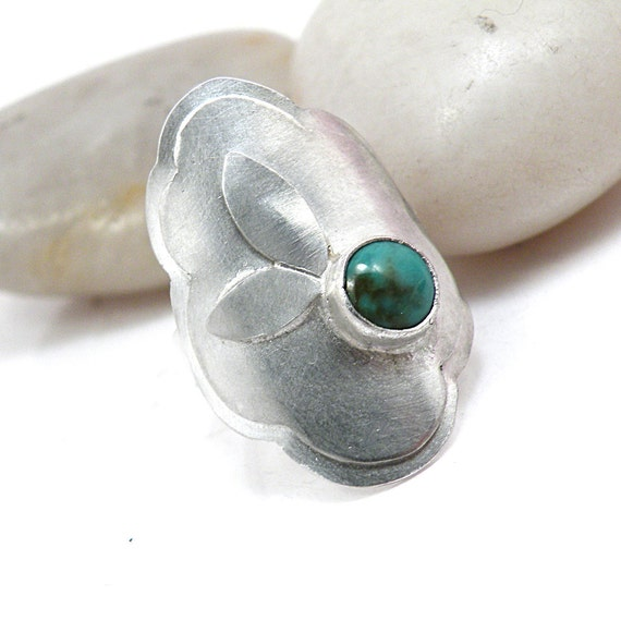 Turquoise Saddle Ring Sterling Silver Size 8 Armor Ring, One of a Kind Bohemian Jewelry- Flirt With the Sky Ring