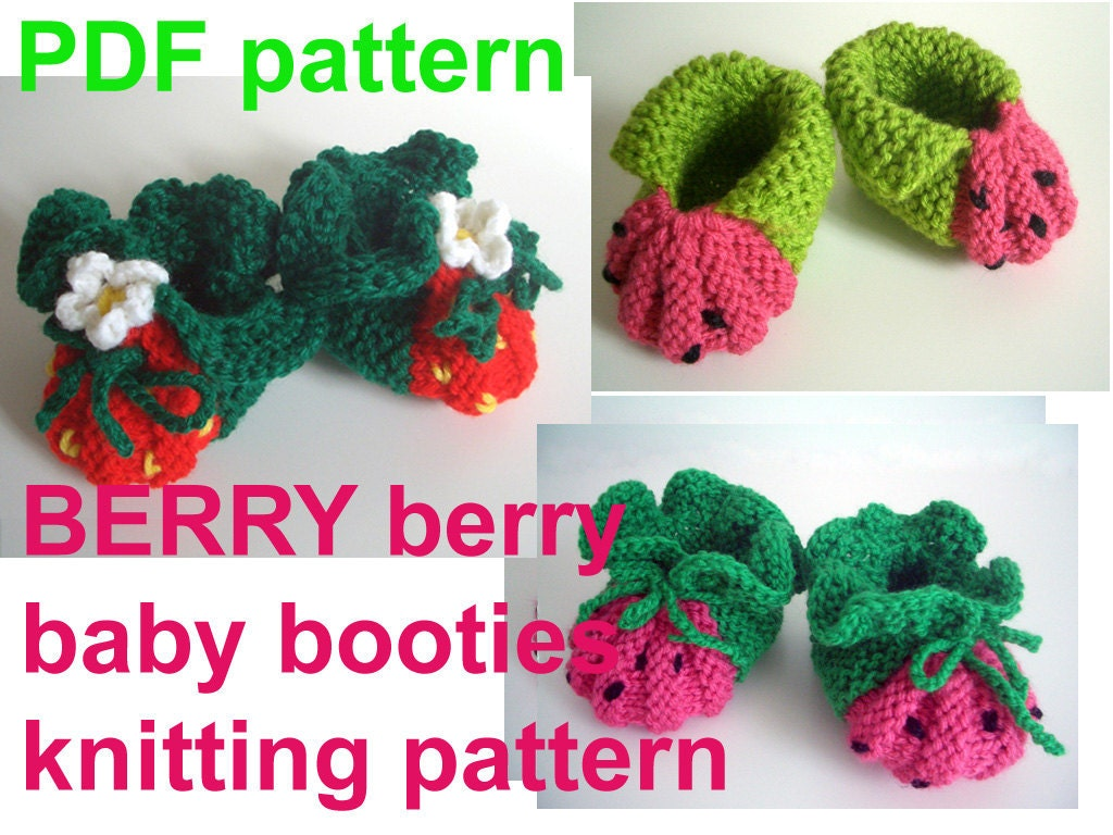 Knitting Patterns For Baby Booties Beginner : BERRY WATERMELON baby booties KNITTING Pattern for by KNITnPLAY