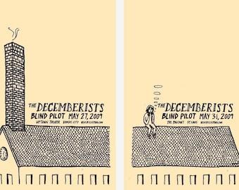 The Decemberists silkscreen concert poster diptych