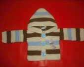 Reserved Listing for Magnum 83 stripy cardigan duck egg blue,cream and brown 3 -6 months